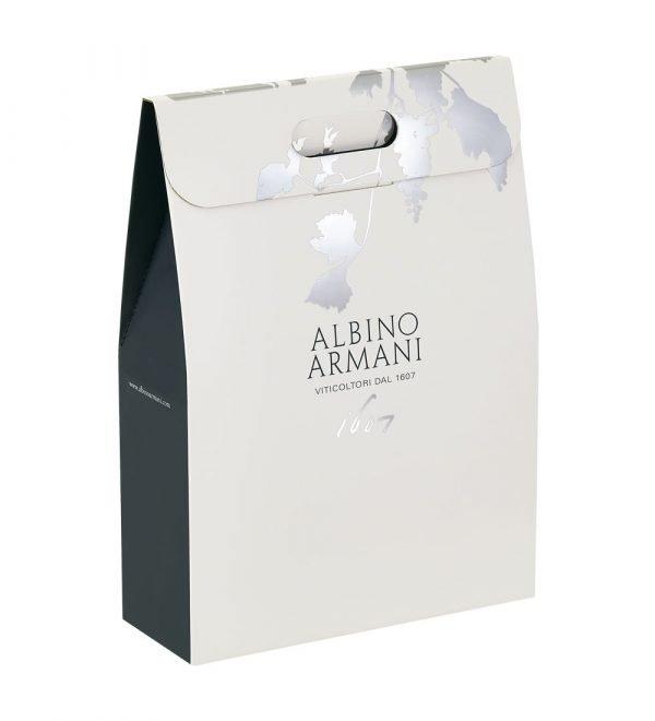 Astuccio portabottiglie firmato Albino Armani. Confezione da 3 bottiglie (0,75 lt)