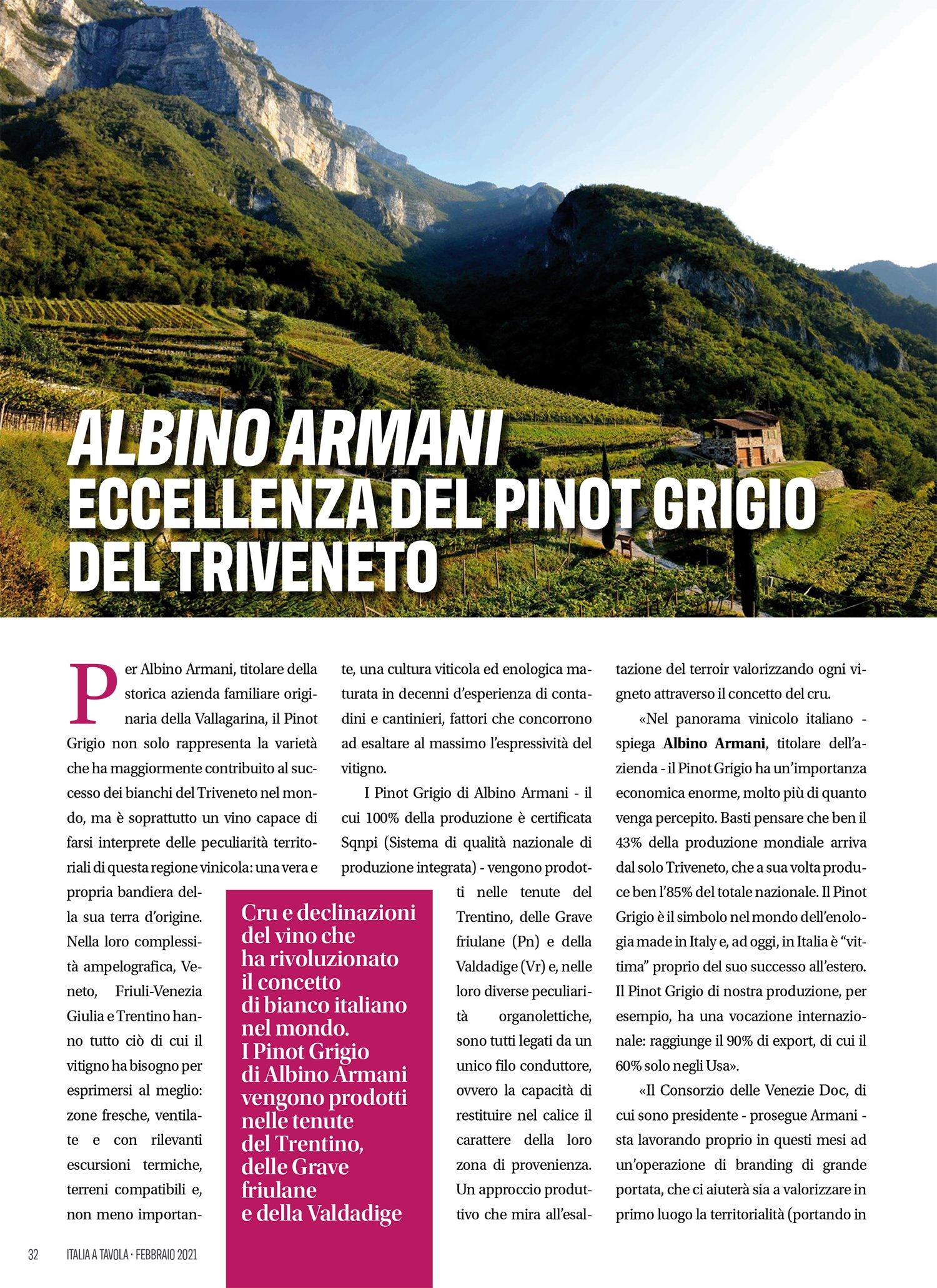 Pinot Grigio Italia a Tavola Febbraio 2021 Albino Armani pag 1