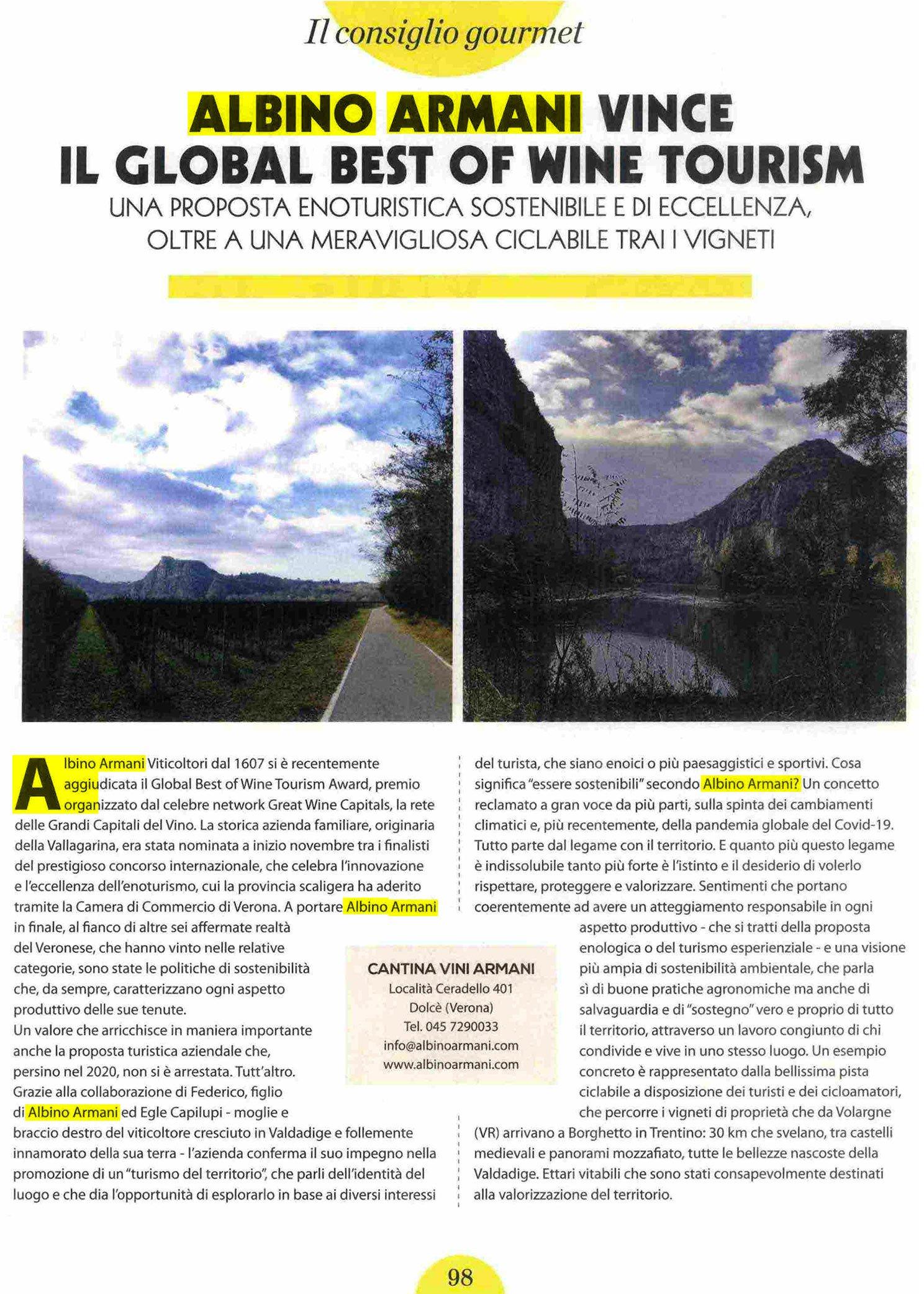 Albino Armani Viaggiare in bicicletta best of wine tourism