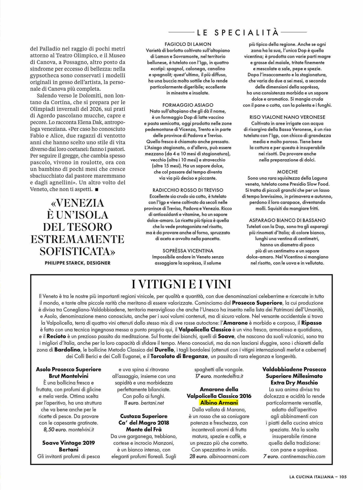 Amarone Albino Armani - La Cucina Italiana