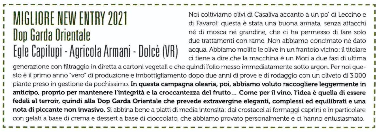 Olio Garda DOP Gambero Rosso Miglior new entry Egle Capilupi